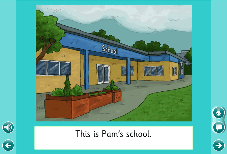 Opening page of Pam's School  Clicker 6 on-screen book
