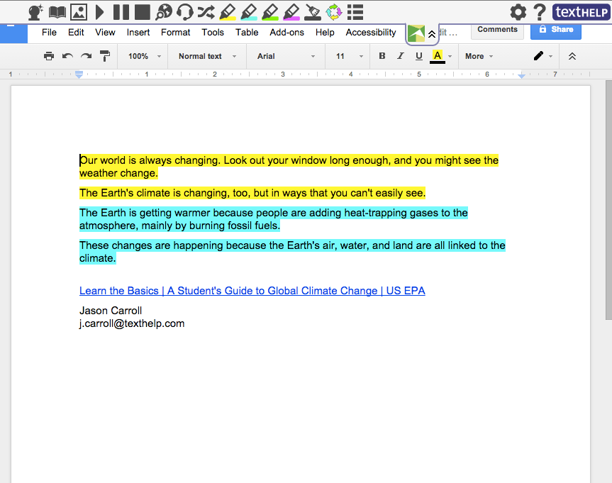 Highlighted text in Google Doc