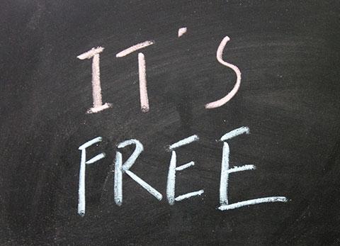 Sign on blackboard reading 'It's Free'