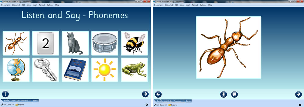 Clicker onscreen book pages showing sound recorder and symbols of various animals and insects including an ant.