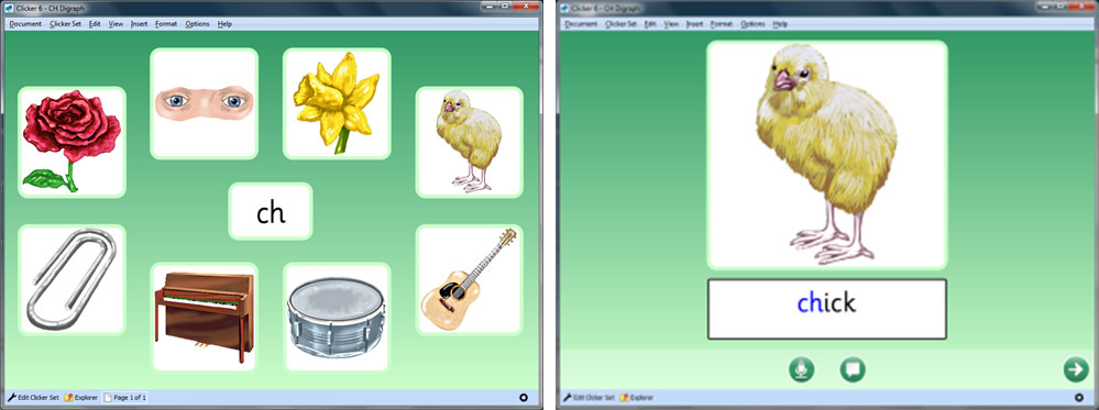 CH Digraphs screenshot showing symbols of words beginning with ch including chick