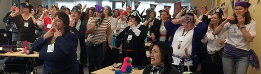 Workshop attendees dressed as pirates