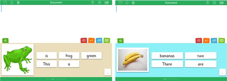 Clicker Sentences screenshots with a green frog and 2 bananas.