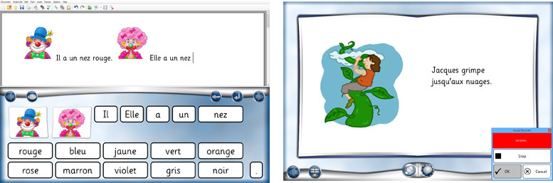 Clicker French writing and reading activities