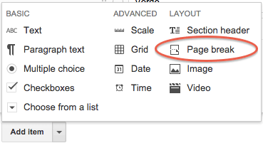 Create new form page screenshot