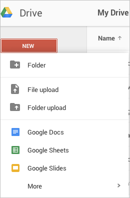 Screenshot of adding new folder to drive
