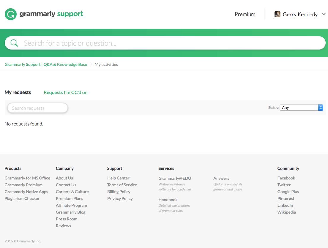 Gtammarly support webpage