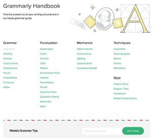Grammarly handbook webpage