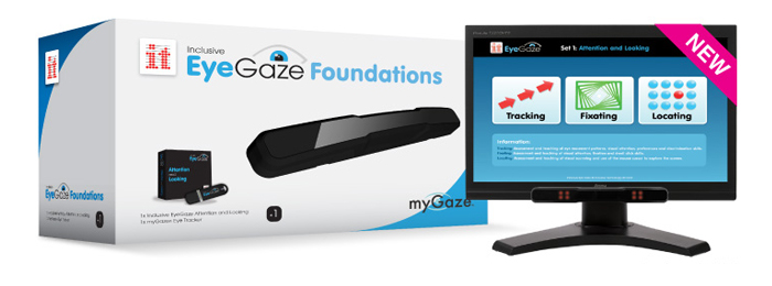 EyeGaze Foundations product box and display monitor with myGaze Eye Tracker connected