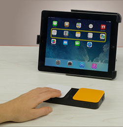 Image of Blue2 Bluetooth Switch in use with an iPad in scan mode