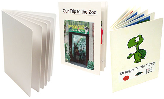 Create-a-Board Books left-to-right: blank, with Our Trip to the Zoo story, and with Orange Turtle Story