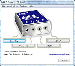 Crick USB Switch Interface software set up to emulate the Space and Enter keys. Click to see larger image.