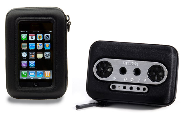 Left: iMainGoX front showing iPhone inside and right: back showing speakers and jacks