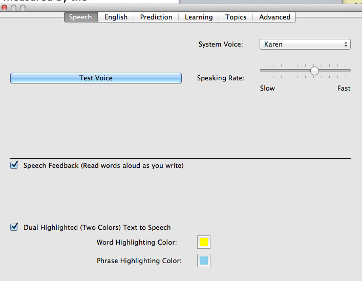Ghotit Real Writer and Reader Speech Settings