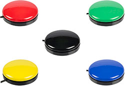 Buddy Button all five colours red, green, blue, yellow and black. Click to see larger image.